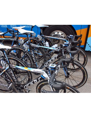 Stage 2 winner Tyler Farrar's (Garmin-Transitions) Felt F1 lies safely tucked away amid the rest of the team bikes