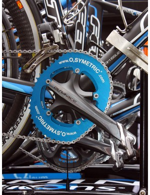 O.symetric chainrings look to have made major inroads in the pro field this year, appearing on over half of the Team Sky bikes and David Millar's (Garmin-Transitions) Felt F1