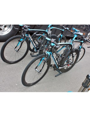 The distinctive black-and-blue Pinarello Dogmas of Team Sky are easy to pick out in the peloton