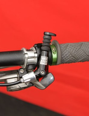 Greg Herbold uses a left mount shifter on the right side of his bar so that he can actuate it with the side of his hand, between his thumb and pointer finger