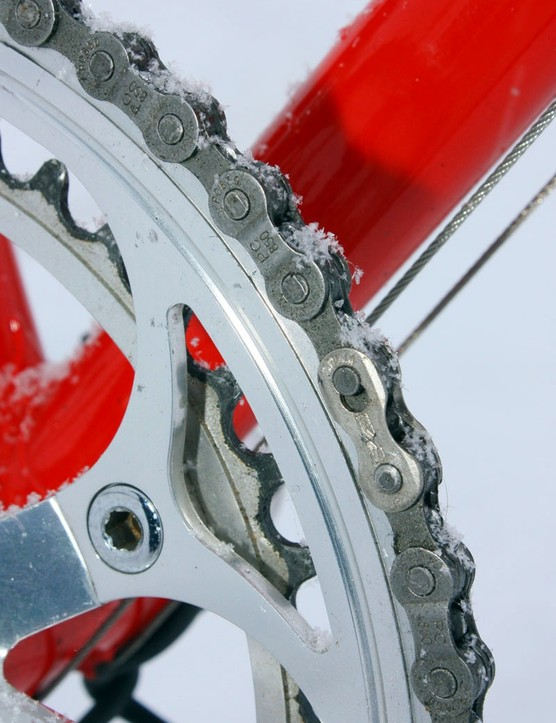 This SRAM chain is one of the only major standouts from what is otherwise a well restored vintage rig