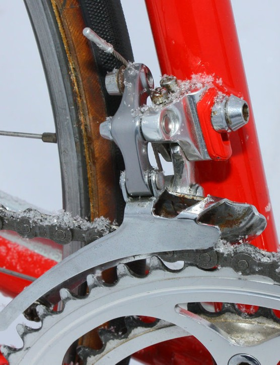 Just a hint of rust marks the chromed cage of this Shimano Dura-Ace front derailleur
