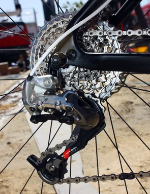 A SRAM XX rear derailleur moves the chain across a 11-36T XX cassette