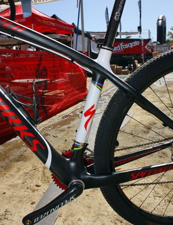The seat tube is offset forward to provide more tyre clearance