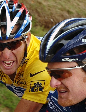 Lance Armstrong and Floyd Landis, during their time at US Postal
