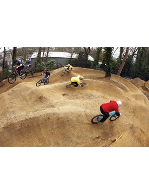 Pump track riding action