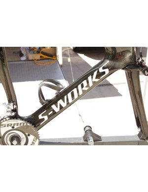 Despite all of its aero advantage the team's bikes still use a standard down tube mounted bottle cage and bottle.