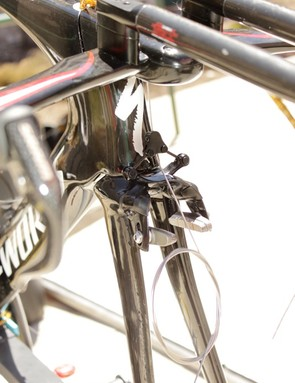 The front of the headtube is now fully exposed and the bike now uses the Transition's brake.