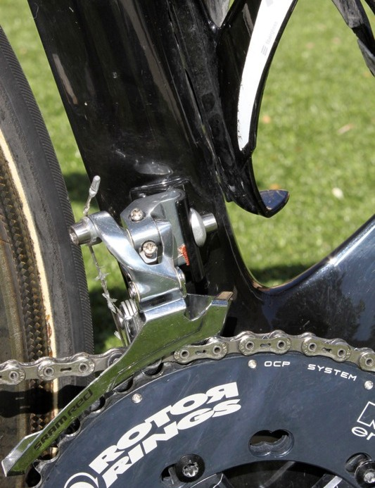 The S3 has a front derailleur braze on; notice the bit of sand paper placed between the derailleur and frame to increase the friction of the clamp.