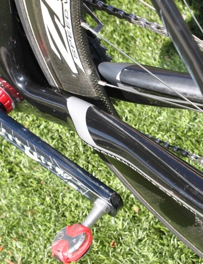 The chainstays are flared for aerodynamics, a byproduct is added stiffness.