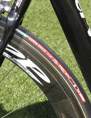The Test team's Zipp's are wrapped with Vittoria Corsa CX rubber.