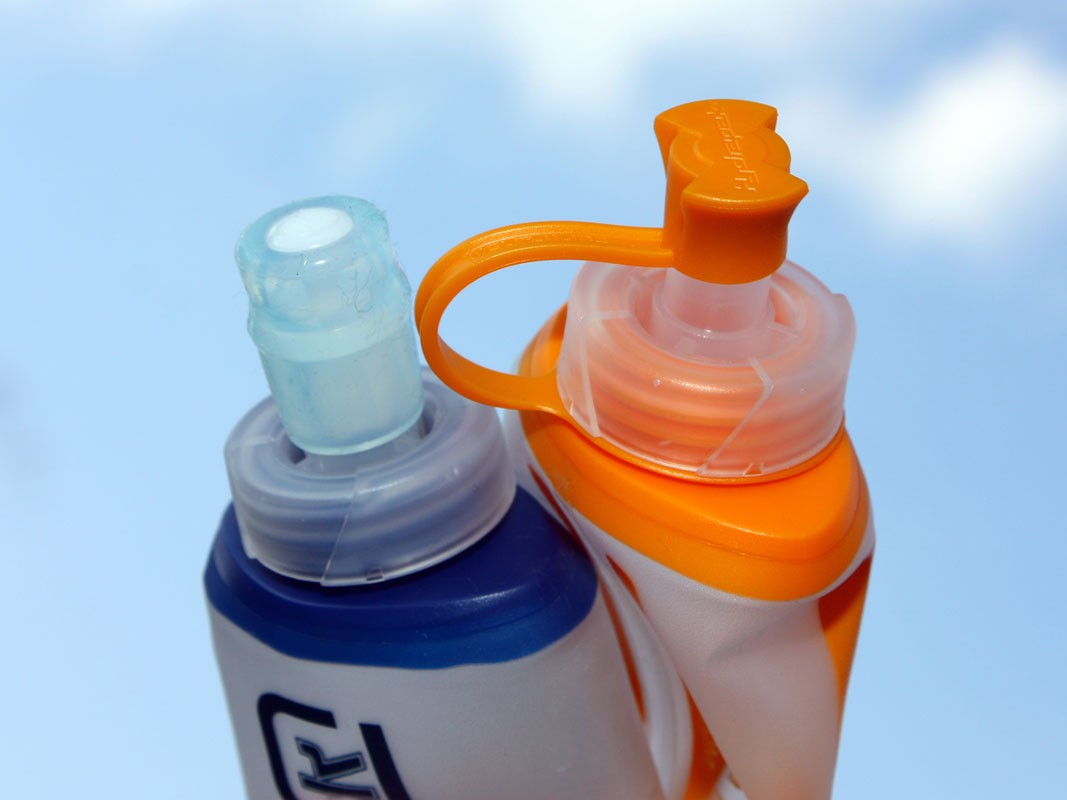 Hydrapak's bite valve works great for runny fluids but can't cope with energy gels unless you water them down a lot first (Hydrapak recommends a 50/50 split).  We'd recommend going with the flip-top version instead
