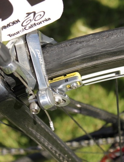 SRAM's SwissStop pads offer consistent braking on most carbon wheels.