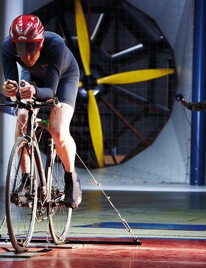 BikeRadar editor Jeff Jones doing a spot of testing at the MIRA wind tunnel