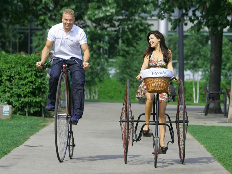 Sir Chris Hoy and Sky Ride ambassador Kelly Brook launched this year's series of family rides in London