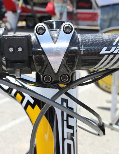 Rogers' uses a carbon bar and carbon wrapped stem from PRO.