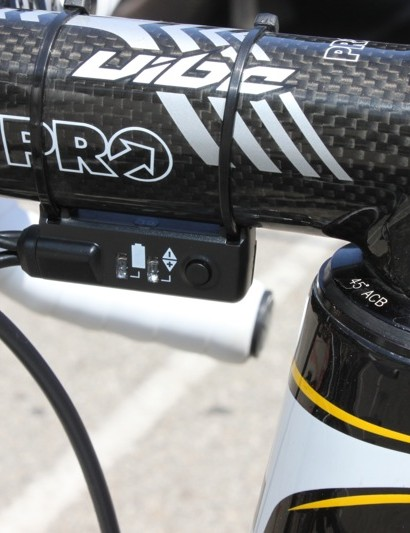 Mechanics zip tie the Di2 adjuster terminal to the underside of the Vibe stem.