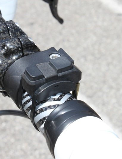 Rogers has an additional Di2 remote shifter for his rear derailleur mounted to the top of his bar.