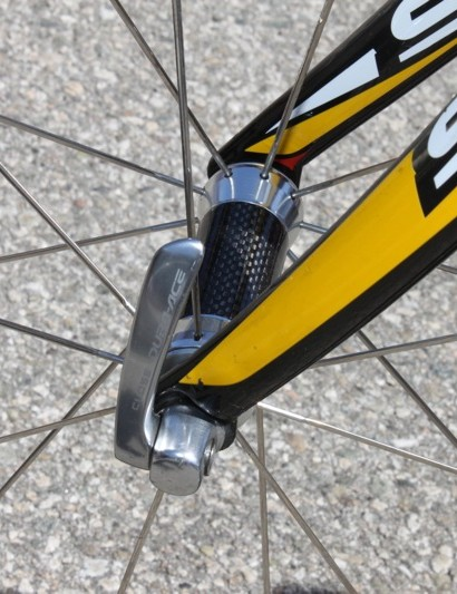 Rogers' front Stinger 9 uses HED's upgraded Flamme Rouge carbon shelled hub.