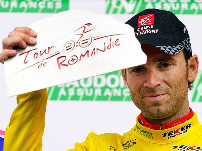 Alejandro Valverde with the winner's cheque from the 2010 Tour de Romandie, his last race win. Will he be allowed to keep it?