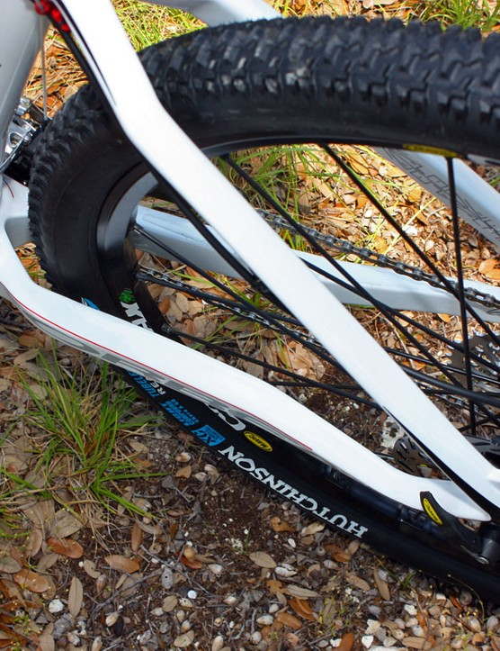 Chainstays are beefy for rigidity but carefully shaped to provide lots of tyre clearance and room for the latest two-ring cranksets