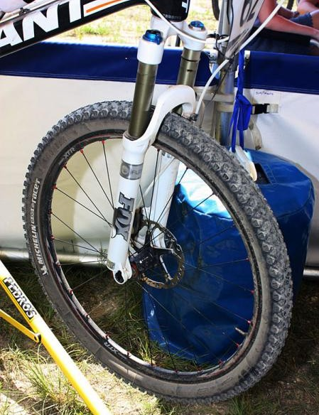 Adam Craig (Rabobank-Giant Off-Road Team) tested his repaired ACL at the Mellow Johnny's Classic with a prototype Shimano XTR 15mm through-axle front wheel and new Michelin tyre tread
