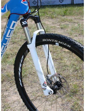 The new RockShox Reba 29 XX World Cup fork is set for 100mm of travel.