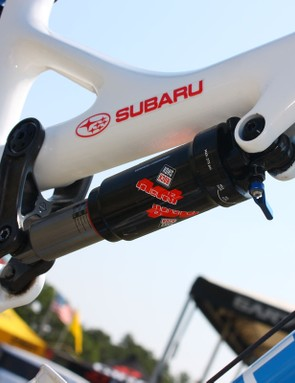 The rear shock is badged as a RockShox Monarch 2.1 but the controls suggest it's a 3.3 model instead.