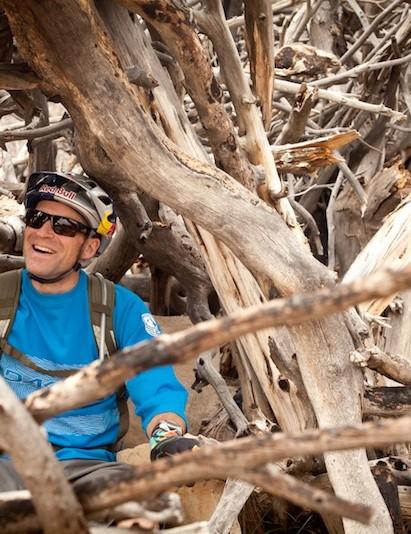 Wildhaber goofing around during RockShox's 2011 product launch in Durango, Colorado.