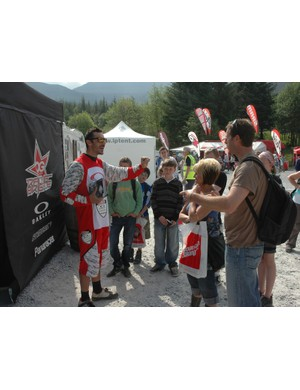 Cedric Gracia holds court in the pits at the Fort William World Cup