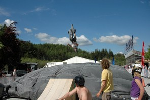 The Airbag proved a hit, with riders taking the chance to try their hand at backflips