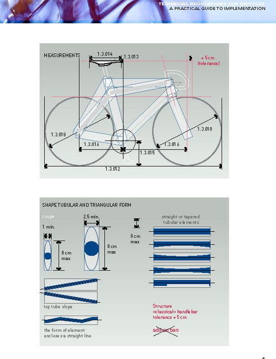 Page 4 of the UCI's Practical Guide to Implementation breaks down tubing profiles and standard road bike measurements