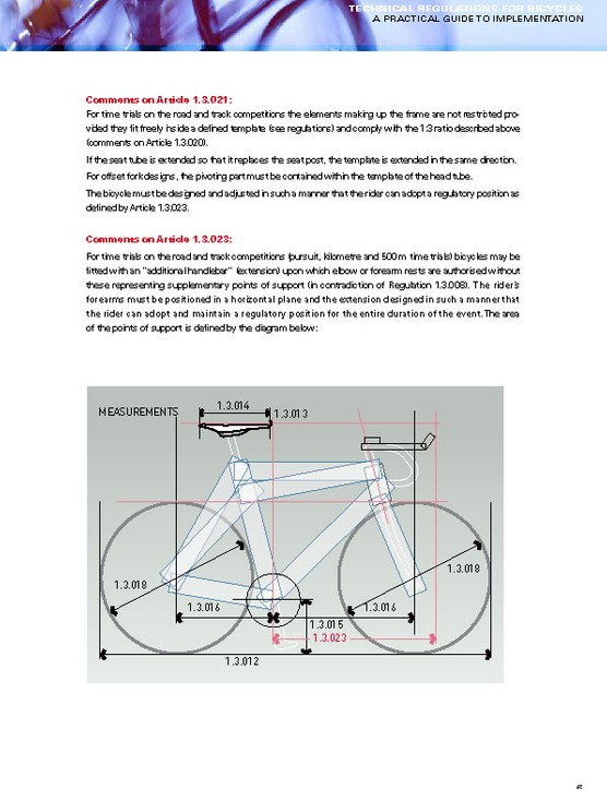 Page 6 of the Practical Guide to Implementation outlines time trial bike parameters