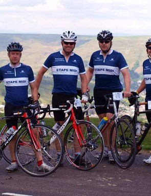 Riders from Etape Midi pause to take in stunning views of the Rhondda Valley before descending the Bwlch.