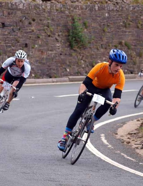 Tackling the second descent of the Bwlch.