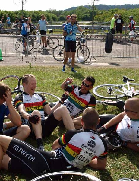 Swapping war stories in  the finish area