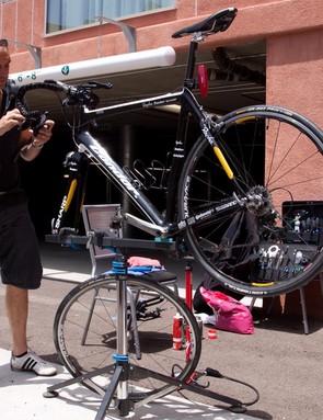 Team Sharp's Condor bikes are made ready...