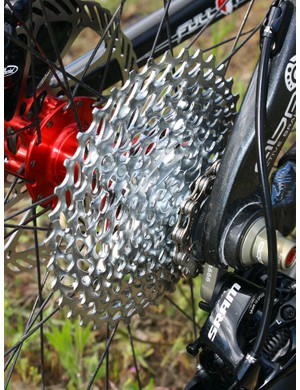 Our PG-1070 cassette has its biggest four cogs mounted on an alloy spider