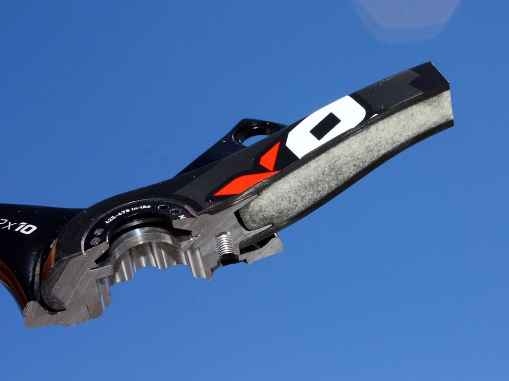The new X0 cranks do away with full-length aluminium spines in favour of a hollow foam core construction