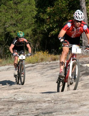 Chris Eatough leads Australian Craig Gordan across one of the many granite rock sections at world's in Conyers, GA.