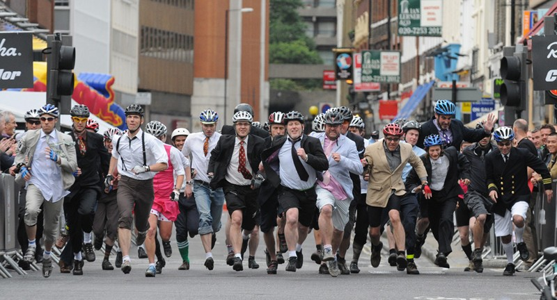 In the Le Mans-style folding bike race, city commuters will whizz around London's streets suited and booted
