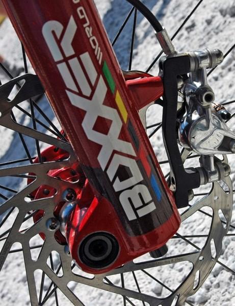 Greg runs BlackBox Avid Elixir brakes front and rear