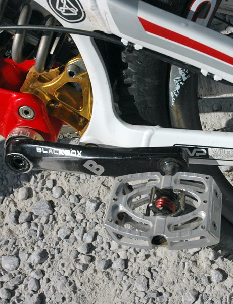 The team run CrankBrothers pedals – in this case, Mallets