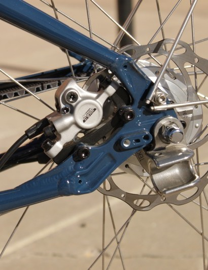 The Live 3 tucked the Tektro brake caliper between the seat and chainstay