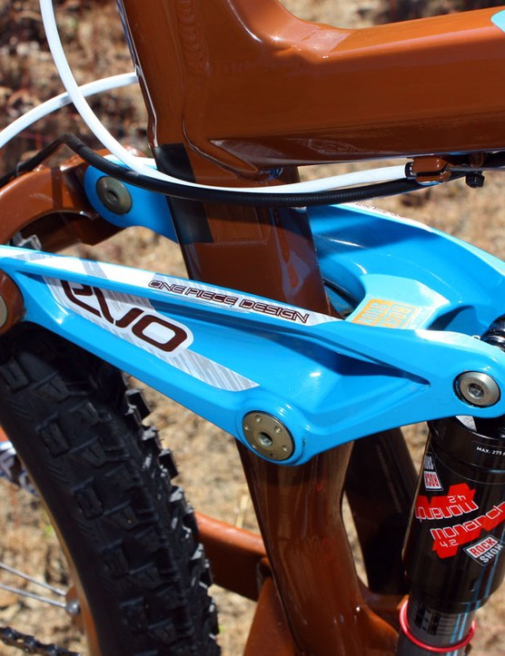 Schnell's bike requires a custom machined rocker to accommodate the RockShox Monarch 4.2 rear shock