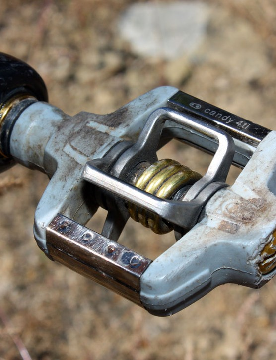 Schnell continues to use CrankBrothers' previous-generation Candy 4ti pedals