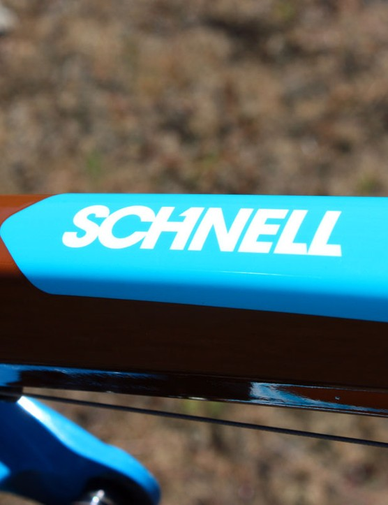 Schnell's name isn't just stickered on to the top tube. As this is a custom paint job created just for him, his surname is an integral part of the scheme and is clearcoated over