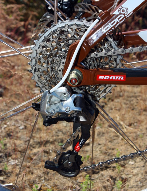 A SRAM XX rear derailleur moves the PC-1091 chain across the 11-36T XX cassette