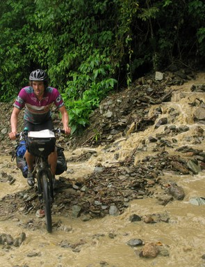 Dirt road abandoned when the rainy season soon turned it into a flooding torrent