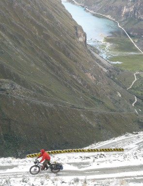 Crossing the Cordillera Blanca (White Mountains) in Peru, descending steep switchbacks and continuing through the glacial valley